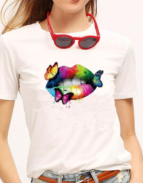 bulk cotton crew neck butterfly printed women t-shirts
