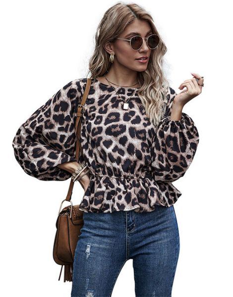 bulk leopard printed long sleeve womens top