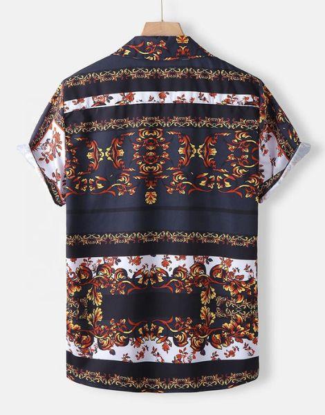 wholesale bulk printed colorful mens shirt
