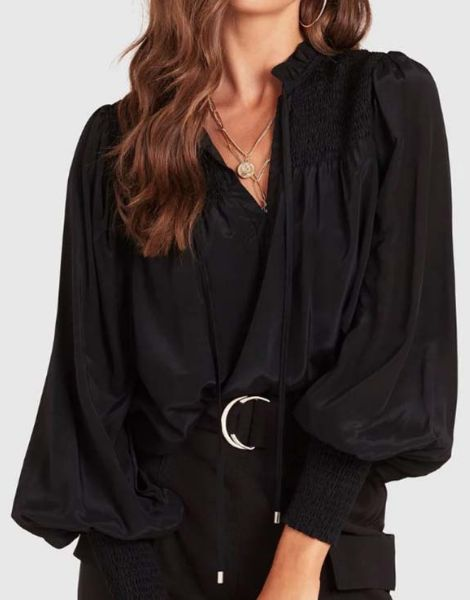 custom puffy sleeve v neck front satin top manufacturers