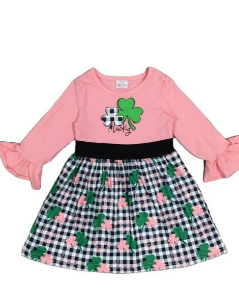 bulk long sleeve printed little girls ruffle dress