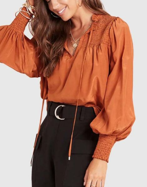 bulk puffy sleeve v neck front satin top