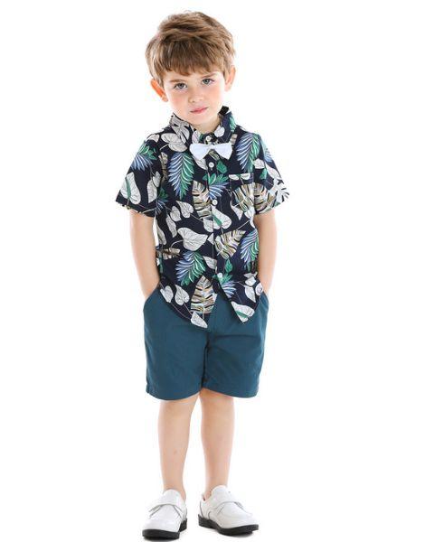 wholesale cotton tree leaves printed little boy clothes set
