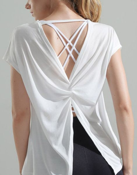 wholesale crew neck backless short sleeve ladies t-shirts