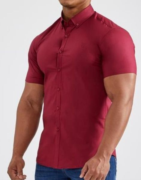wholesale short sleeve muscle fit polyester mens shirt manufacturers