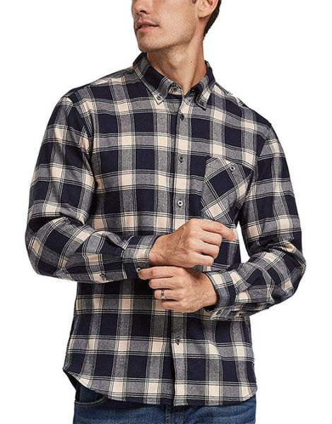 custom long sleeve quick dry polyester mens plaid flannel shirt manufacturers