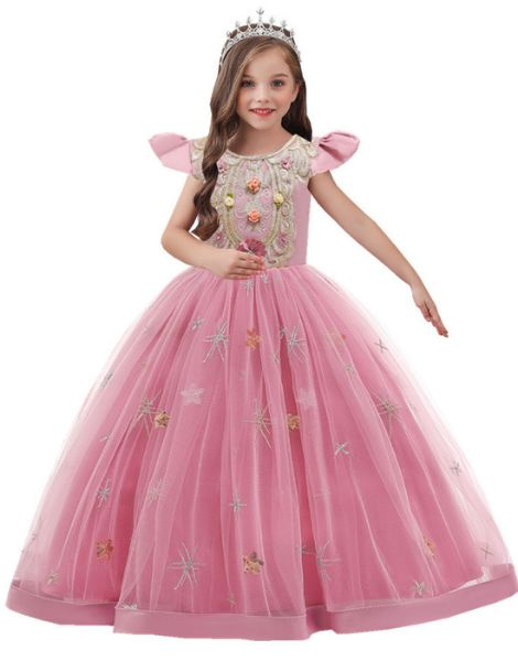 wholesale o neck polyester little girls dress over embroidery work