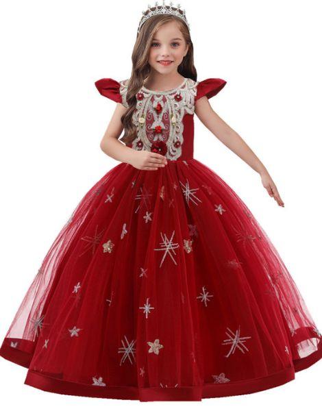 wholesale bulk o neck polyester little girls dress over embroidery work