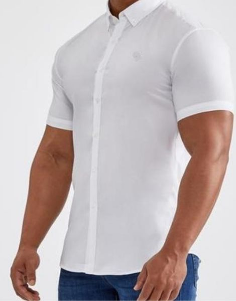 bulk short sleeve muscle fit polyester mens shirt