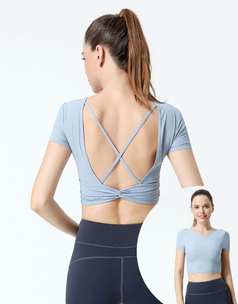 wholesale bulk short sleeved seamless summer womens yoga clothing set