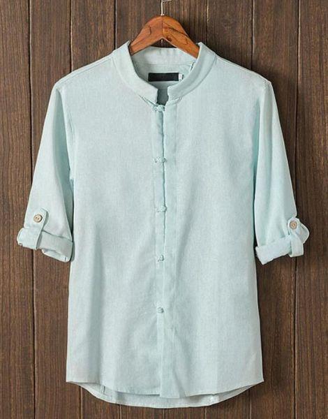 wholesale retro button mid sleeve cotton mens t-shirt