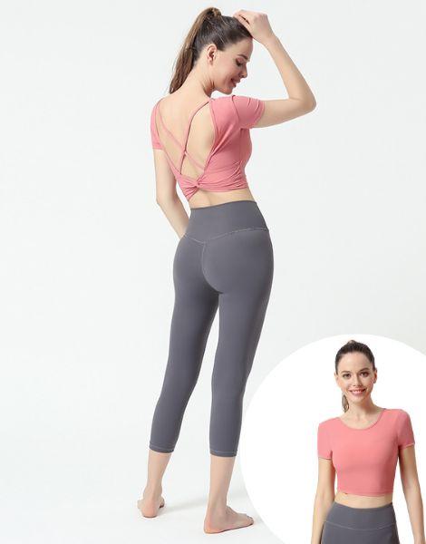 custom short sleeved seamless summer womens yoga clothing set manufacturers