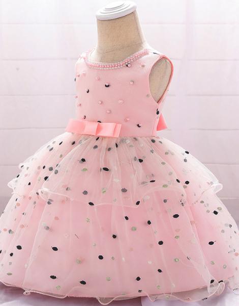 custom sleeveless polyester printed little girls dress
