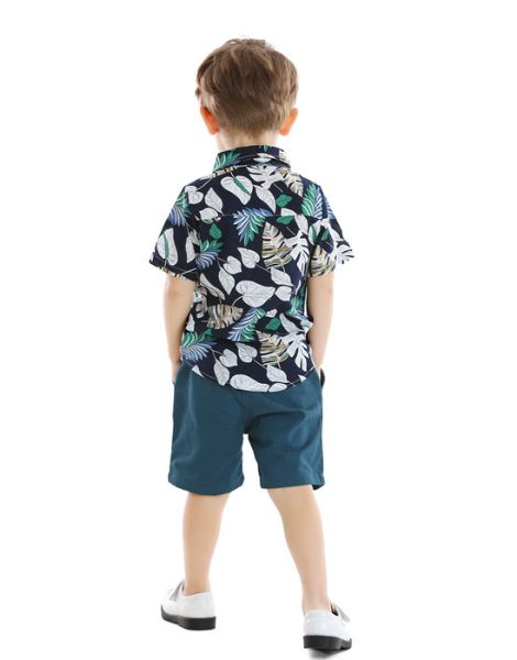 custom cotton tree leaves printed little boy clothes set manufacturers