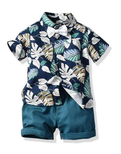bulk cotton tree leaves printed little boy clothes set
