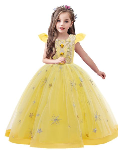 wholesale bulk o neck polyester little girls dress over embroidery work