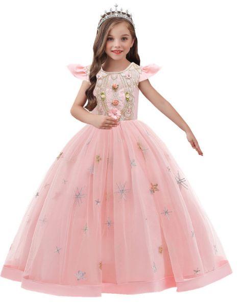 bulk o neck polyester little girls dress over embroidery work