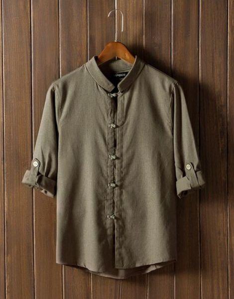 custom retro button mid sleeve cotton mens t-shirt