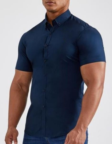 wholesale short sleeve muscle fit polyester mens shirt