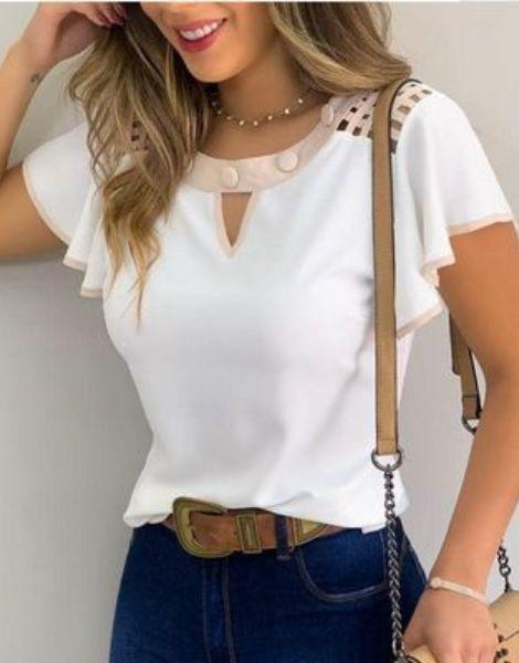 bulk short sleeve o neck chiffon ladies shirt