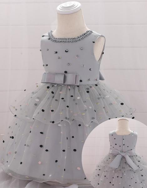 bulk sleeveless polyester printed little girls dress