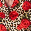 wholesale short sleeve leopard printed mens shirt