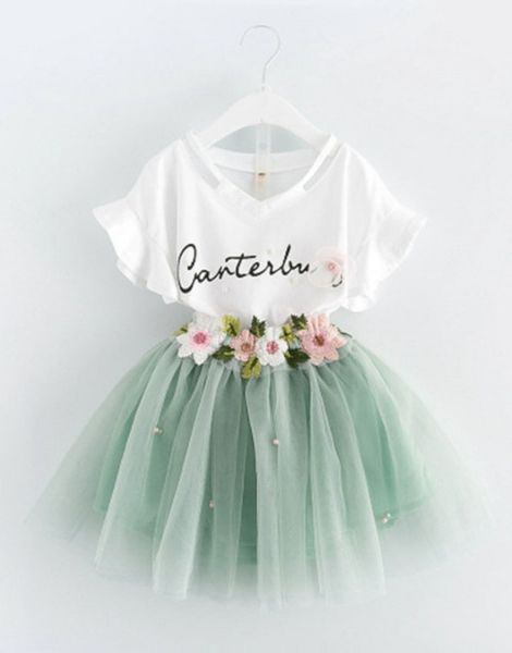 wholesale 2 piece t-shirt and skirt baby girl sets manufacturers