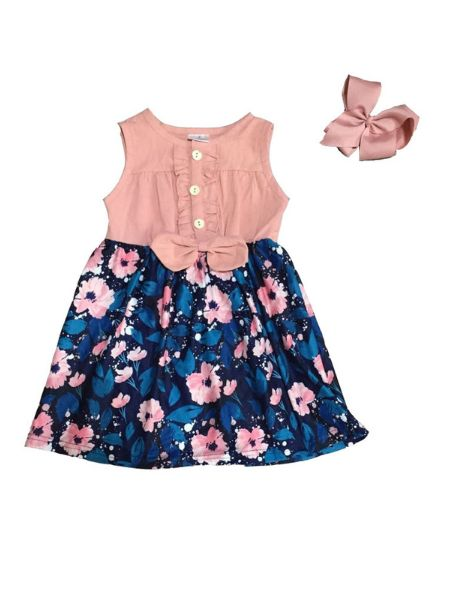 wholesale floral sleeveless summer baby girl clothes manufacturers