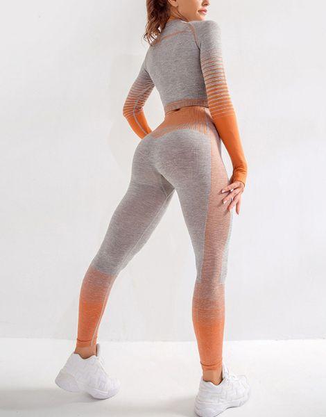 wholesale bulk long sleeve 2 piece women workout set