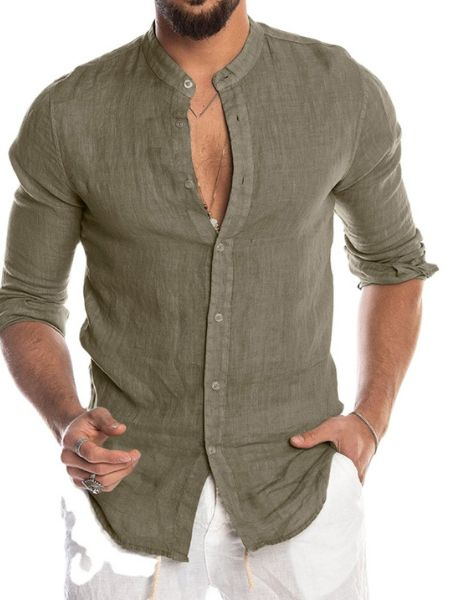 wholesale bulk long sleeve lilen mens shirt