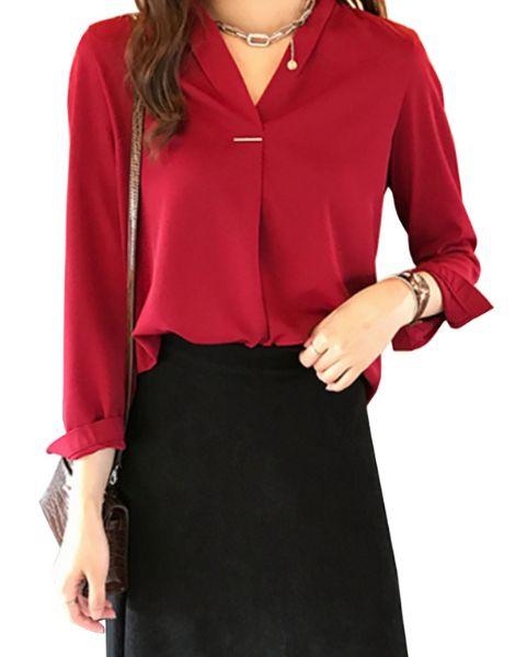wholesale long sleeve v neck chiffon ladies top