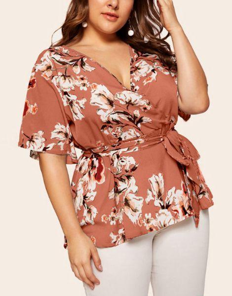 wholesale bulk long sleeve v neck printed ladies t-shirt