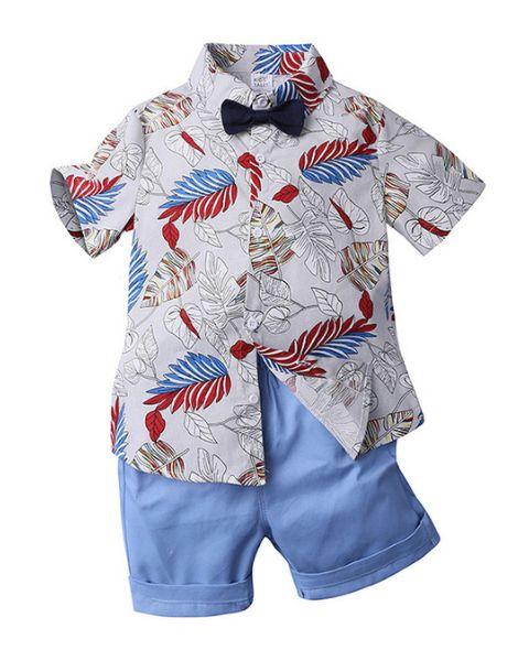 wholesale bulk short sleeve cotton printed little boys clothes