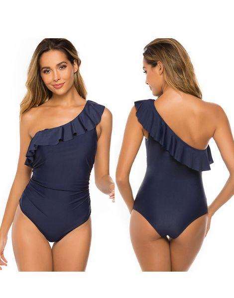 wholesale bulk waterproof spandex one shoulder swimsuit