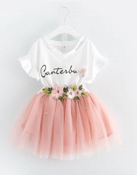 bulk 2 piece t-shirt and skirt baby girl sets