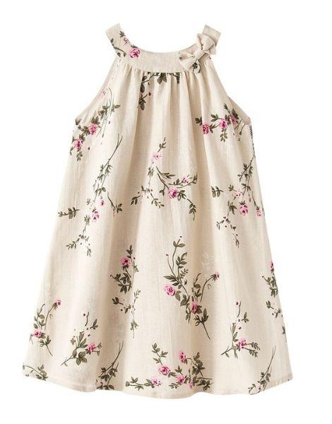 bulk crew neck sleeveless little girl dresses