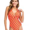 bulk polka dot V neck onepiece swimwear