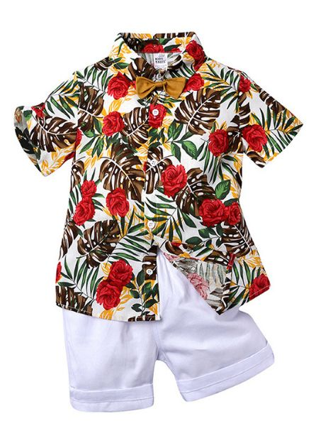custom short sleeve cotton printed little boys clothes