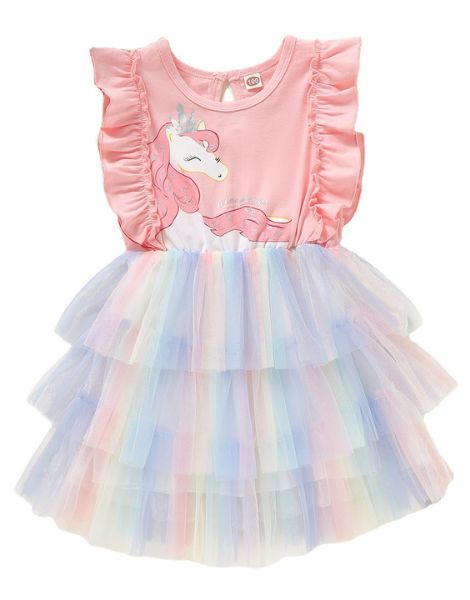 bulk unicorn printed sleeveless little girls dress