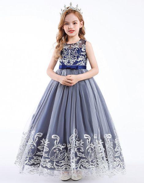 custom o neck sleeveless little girls dress manufacturers